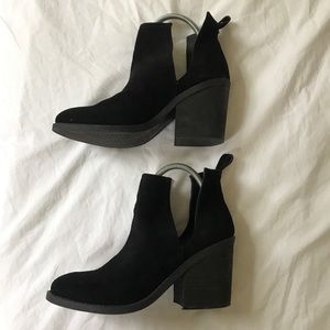 Steve Madden Black Leather Suede Cutout Boot